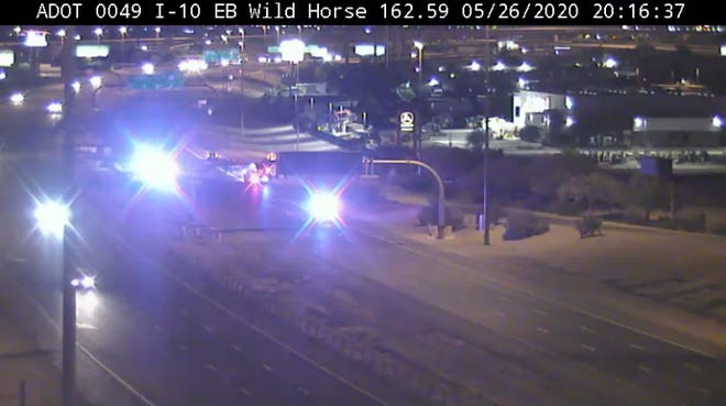 A female pedestrian was hit and killed by two vehicles while she was walking across westbound Interstate 10 near Wild Horse Pass Hotel and Casino around 8 p.m. on Tuesday, according to the Arizona Department of Public Safety.