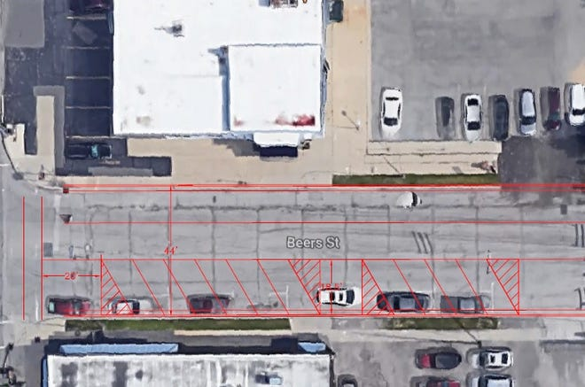 Five to seven angled pull-in parking spaces are being added to Beers Street between Huron Avenue and Michigan Street in downtown Port Huron. Currently, only parallel spaces are available, but city officials said Beers is wide enough for the change.