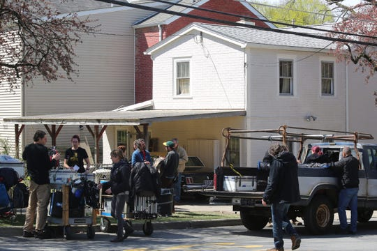 "HBO's production of ""I Know This Much Is True"" filmed at a house on Delafield Street in April"