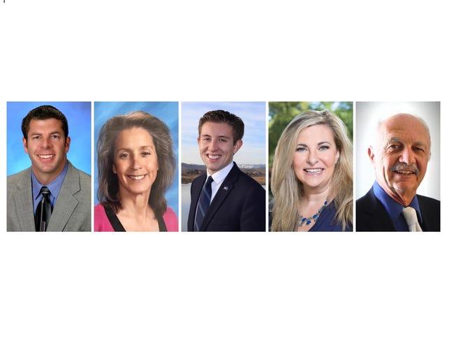 The candidates for Washoe School Board District A: from left: Scott Kelley, Terese Huerstel, Jack W. Heinemann, Lisa Genasci, Jeff Church