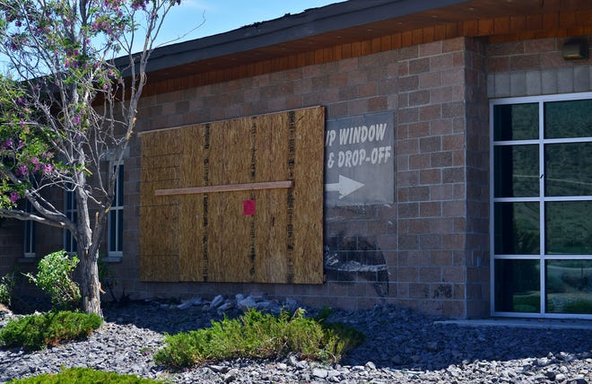 The Sparks Library off pyramid Way has been patched up on Wednesday May 27th,  2020 after a semi truck crashed into the west side of the building on Tuesday afternoon.