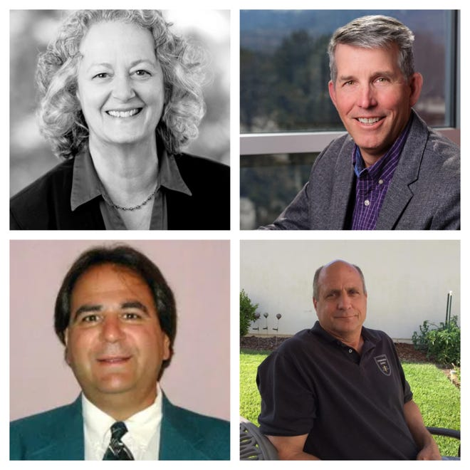 The candidates for Washoe School Board District G: from top left, clockwise: Diane Nicolet, Craig Wesner, Paul White, John Eppolito.