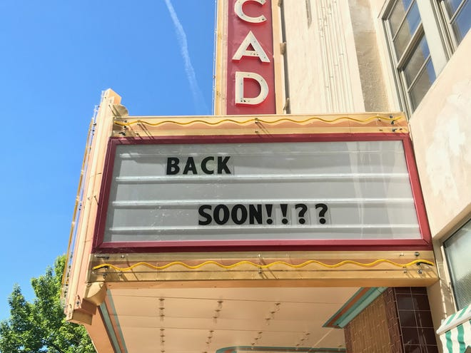 The outside of the Cascade Theatre is seen on Wednesday, May 27, 2020.