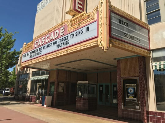 The Cascade Theatre in downtown Redding is seen on Wednesday, May 27, 2020.