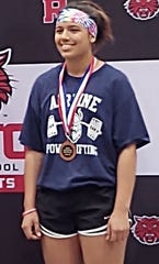 Airline's Gabby Patronis finished third in the Regional powerlifting championships.