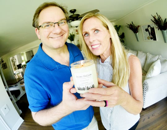 Gary and Tisha Wrobel own Gnome Hallow Candle and Soap Company and make everything from their Broadmoor home. They will be selling at the Farmer's Market.
