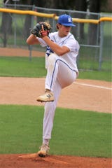 Dell Rapids native Austin Henry pitches for Renner Post 307 last season. The right-handed pitcher has made a verbal commitment to Wichita State.