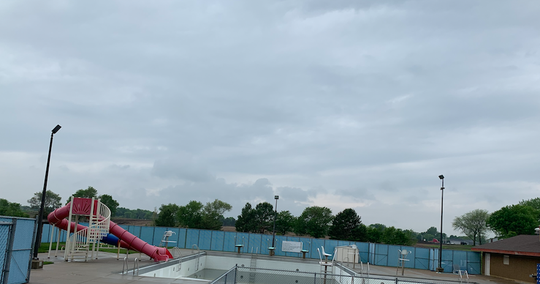 The two slides at the swimming pool will be replaced with new units when the facility opens next spring.