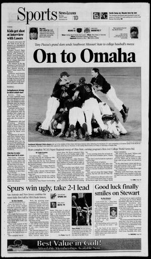 The Springfield News-Leader's sports cover on June 9, 2003, following SMS' Super Regional win over Ohio State to advance to the College World Series.