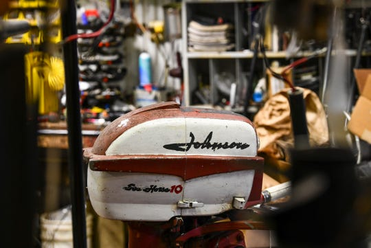 A vintage motor is pictured Tuesday, May 26, 2020, at Bruce's Outboard Shop near Sauk Rapids.