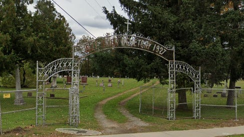 Police are asking for the public's help to find the missing metal overhead sign from the 1927 Union Cemetery, 2501 Water Street, Stevens Point.