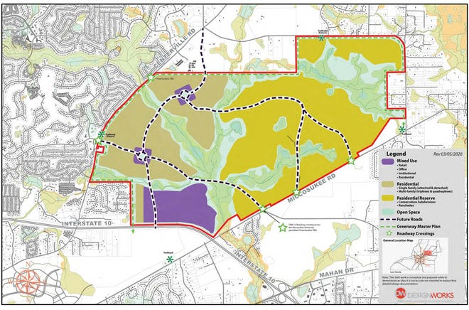 A rendering of the proposed changes to the Welaunee property that were submitted to the state during a transmittal hearing by the city and county commissions Tuesday.