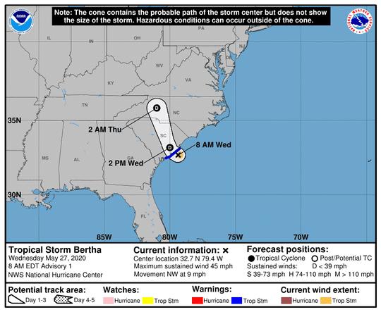 Tropical Storm Bertha May 27, 2020