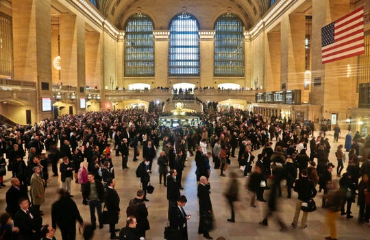 This March 12, 2014 file photo shows New York's Grand Central Terminal during rush hour.