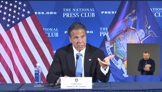Gov. Andrew Cuomo gave is daily coronavirus press briefing from Washington, D.C., after he had met with President Donald Trump on Wednesday, May 27, 2020.