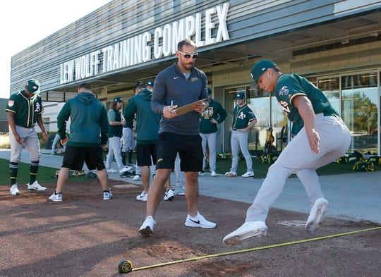 Oakland Athletics pitchers undergo spring 2019 training exercises at the team's minor league complex in Mesa, Ariz.