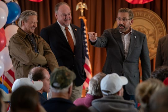 "Steve Carell (right) plays a Democratic political consultant aiming to help a retired Marine (Chris Cooper, left) win a mayoral election in ""Irresistible."""