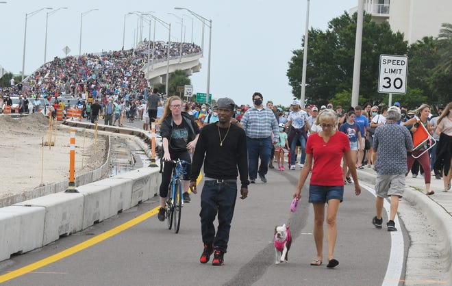 Huge crowds of SpaceX spectators gathered May 27 at A. Max Brewer Bridge and nearby areas of Titusville in hopes of seeing the first U.S. crewed mission in almost a decade. The launch was scrubbed.