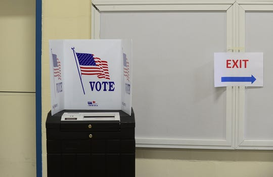 The voting machine at Orchard School in South Burlington, seen on Thursday, May 28, 2020, during the city's school budget vote.