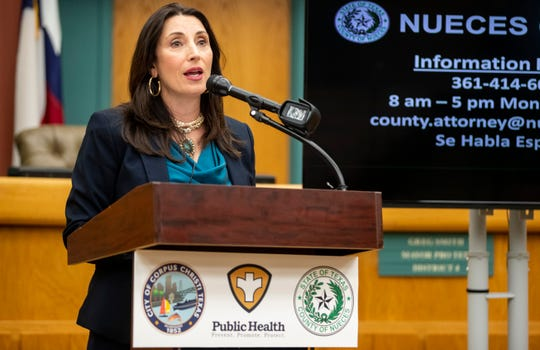 Nueces County Judge Barbara Canales speaks during the weekly coronavirus press conference on Wednesday, May 27, 2020.