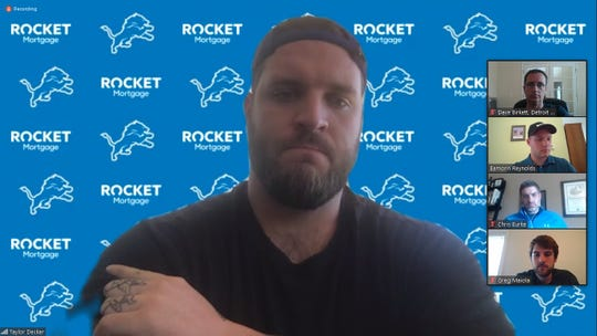 Lions offensive tackle Taylor Decker speaks to the media via Zoom on Thursday, May 28, 2020.