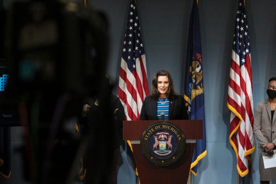 Governor Gretchen Whitmer provides an update on COVID-19 in Michigan on Thursday, May 28, 2020.