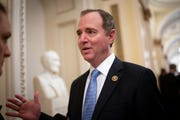 House Intelligence Committee Chairman Adam Schiff, D-Calif., talks to reporters as lawmakers work to extend government surveillance powers in this March 3, 2020, file photo.