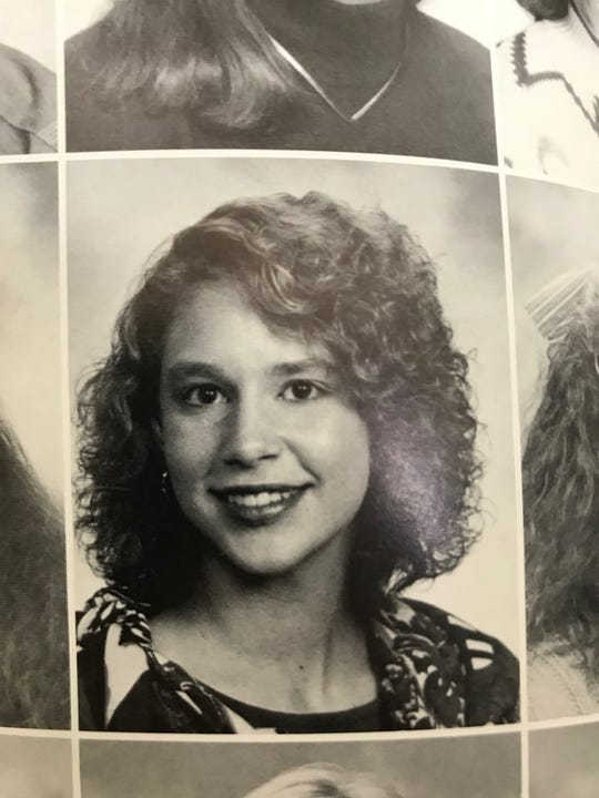 Lori Bolterstein Klausutis is seen pictured in the Evansville Reitz Memorial High School yearbook. The woman died in 2001, and is now at the center of a long-running conspiracy theory pushed by President Donald Trump.