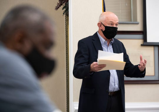 Bobby Arnold speaks during the city council meeting in Jackson, in a bigger room to implement the social distancing guidelines at City Hall in Jackson, Tenn., Thursday, May. 28, 2020.