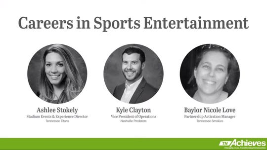 tnAchieves – a nonprofit that partners with the state to operate TN Promise –  is offering virtual community service to high school and college students through 23 one-hour webinars. Pictured is a webinar on careers in sports entertainment.