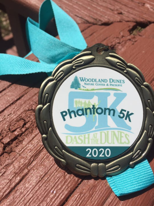 The medal presented to Woodland Dunes' 'Phantom 5K' participants.
