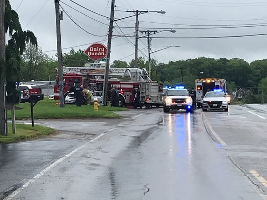 A pursuit which began in Brunswick ended in a crash on U.S. 42 at0 Fifth Avenue Thursday morning. No one was injured. The crash knocked out power to the area. Lou Whitmire/News Journal