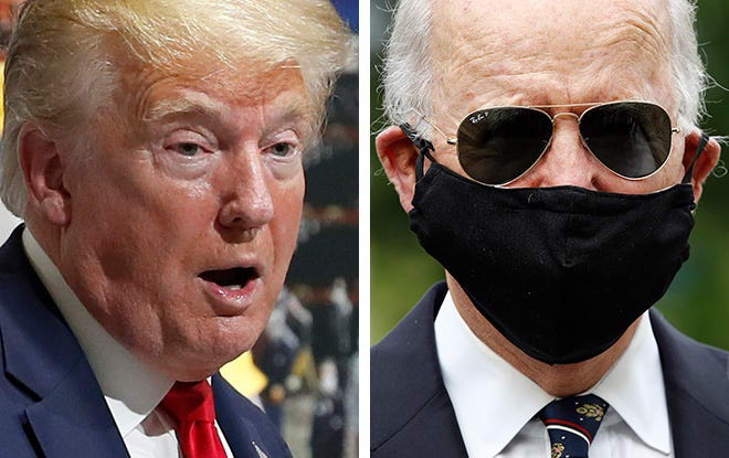President Donald Trump, left, is shown May 21 at a Ford plant in Michigan that has been converted to making personal protection and medical equipment. Former Vice President Joe Biden, right,  wears a face mask to protect against the spread of the new coronavirus at the Delaware Memorial Bridge Veterans Memorial Park on May 25.