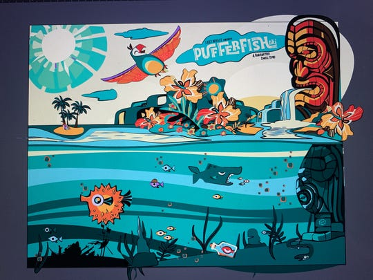 The back of the PufferFish drinks menu, designed by Cristian Acosta-McKillop.