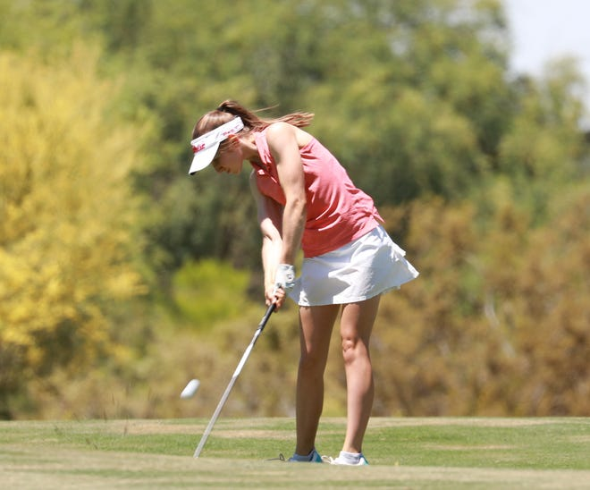 Caroline Wales of Palm Desert High school has been playing events on the Cactus Tour in Arizona with junior and amateur tournaments in California canceled.