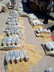 Fotografía cedida este jueves por la Guardia Nacional de México que muestra un cargamento de droga decomisado tras ser encontrado en costales de maíz que transportaba un camión, en una carretera de Ciudad Juárez, en el estado de Chihuahua.