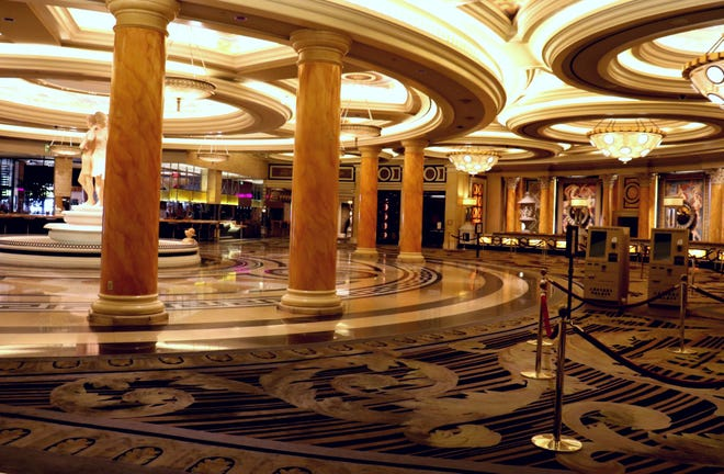 The check-in area at Caesars Palace on May 28, 2020.