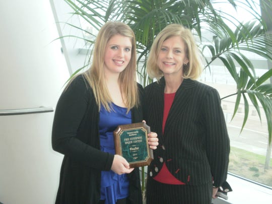 RIchland Springs teacher Patsy Hall, right, with a speech contest winner from 2011.