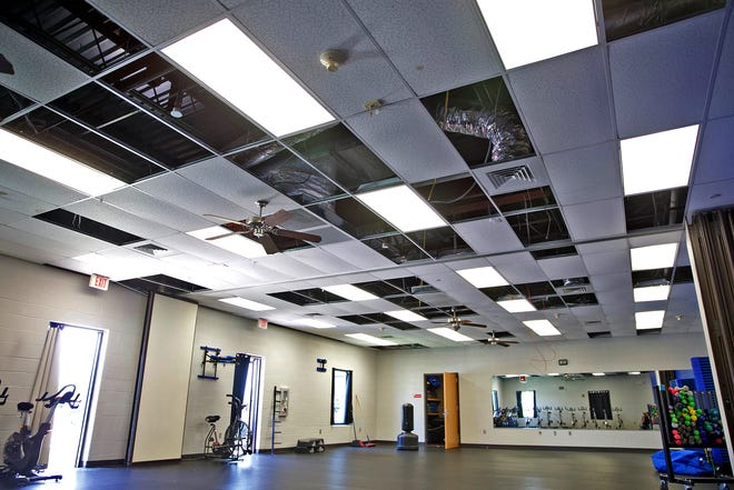 Damage to the ceiling of the YMCA in San Angelo can be seen in this Friday, May 22, 2020 photo after last week's hail storm punched holes in the roof of the facility.