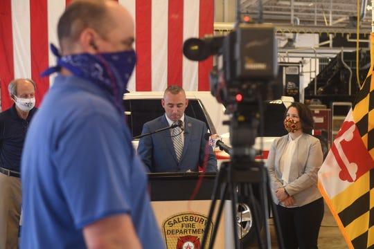 Salisbury Mayor Jake Day will deploy with the Maryland National Guard for about a year, he announced May 28, 2020, at the Salisbury Fire Department headquarters. City Administrator Julia Glanz , at right, will serve as acting mayor during this time.