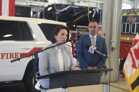 City Administrator Julia Glanz will serve as acting mayor of Salisbury when Mayor Jake Day deploys with the Maryland National Guard for about a year. Glanz spoke May 28 at a press conference announcing the change at the Salisbury Fire Department headquarters.