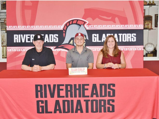 Riverheads' Elijah Dunlap got to celebrate his decision to attend Bridgewater College at a ceremony at the school Thursday, May 28.