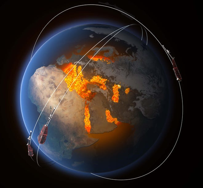 Swarm is a European Space Agency mission consisting of three satellites to study the Earth's magnetic field.
