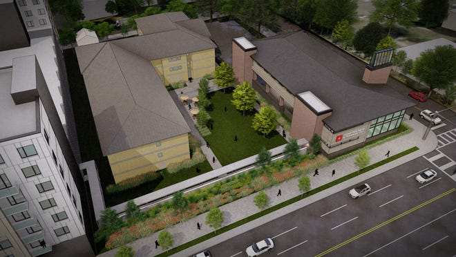 Renderings of the proposed urgent care center pitched for the Frenchtown Quarters and Marketplace project