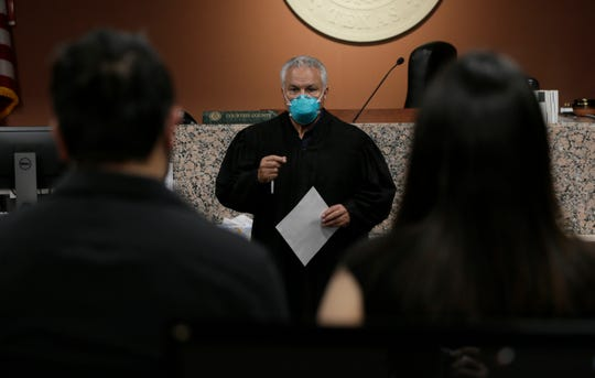 Probate Judge Eduardo Gamboa officiated a wedding May 27 for Karen and David Espinoso at the Downtown El Paso County Courthouse. Gamboa went out of his way to help the couple get married with the city still in a partial coronavirus shutdown.