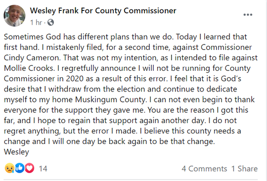 Wesley Frank posted his withdraw on Facebook.
