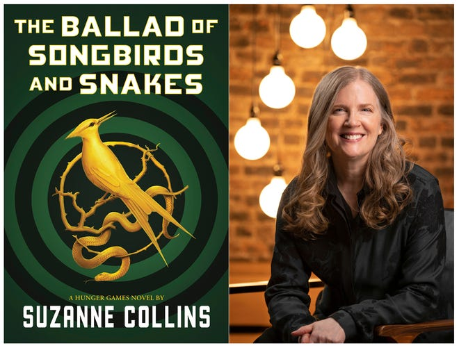 "This combination of images shows the cover image for ""The Ballad of Songbirds and Snakes,"" by Suzanne Collins and a portrait of the author."