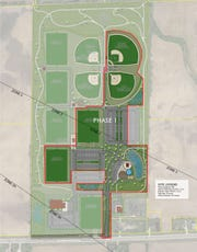 The first phase of development for the Greenville Sports & Splash Park calls for a swimming pond, a splash pad, soccer fields and baseball diamonds. The diagonal lines on the map mark airport overlay zones.