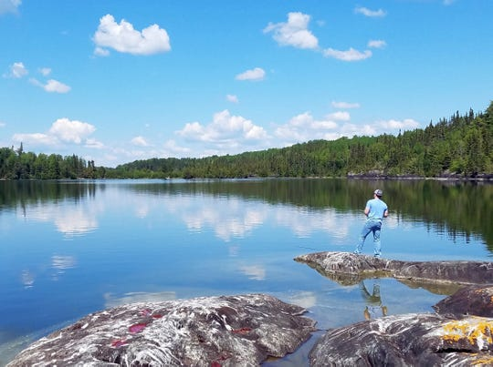 Joe Peterson fishes at Pine Cliff Lodge on 10,000-acre Sandybeach Lake in Ontario, Canada.