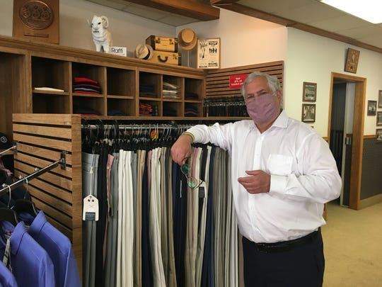 Ron Sall, owner of Sall-Stearns Fine Men's Clothing and Tailoring, inside the shop on May 29, 2020.